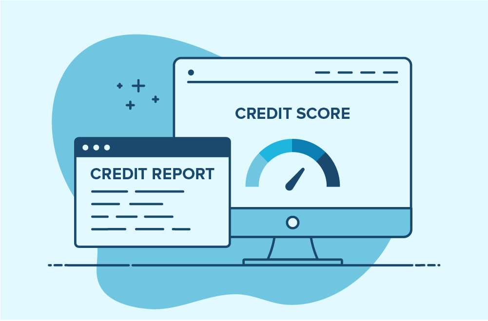 Photo illustration to accompany article on the difference between credit score and credit report