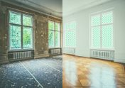 A room before and after renovation