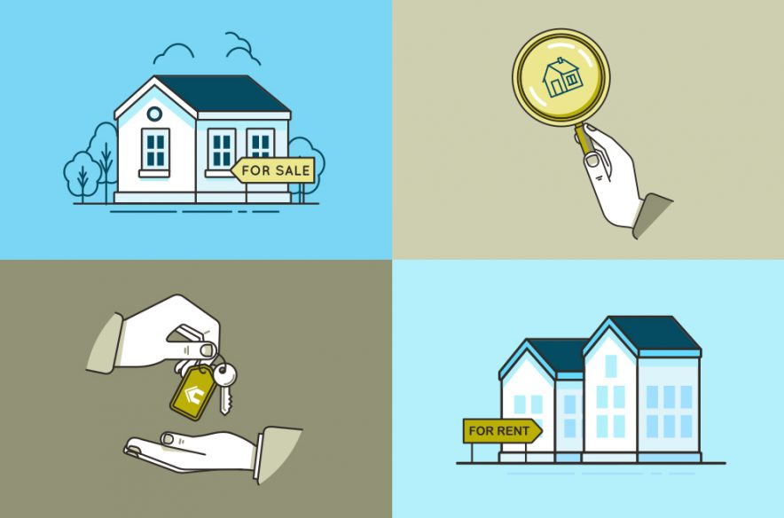 Photo illustration to accompany article on renting versus buying a home