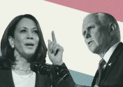 Photo of Sen. Kamala Harris and Vice President Mike Pence to accompany article on vice presidential debate