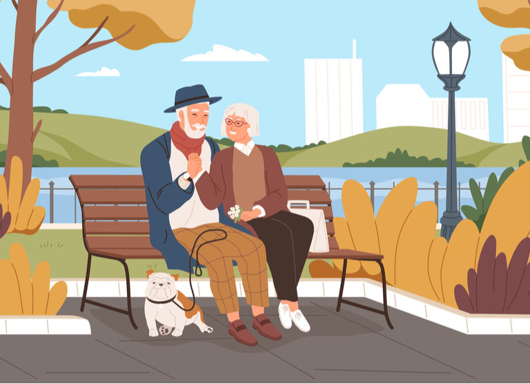 elderly sitting at a park