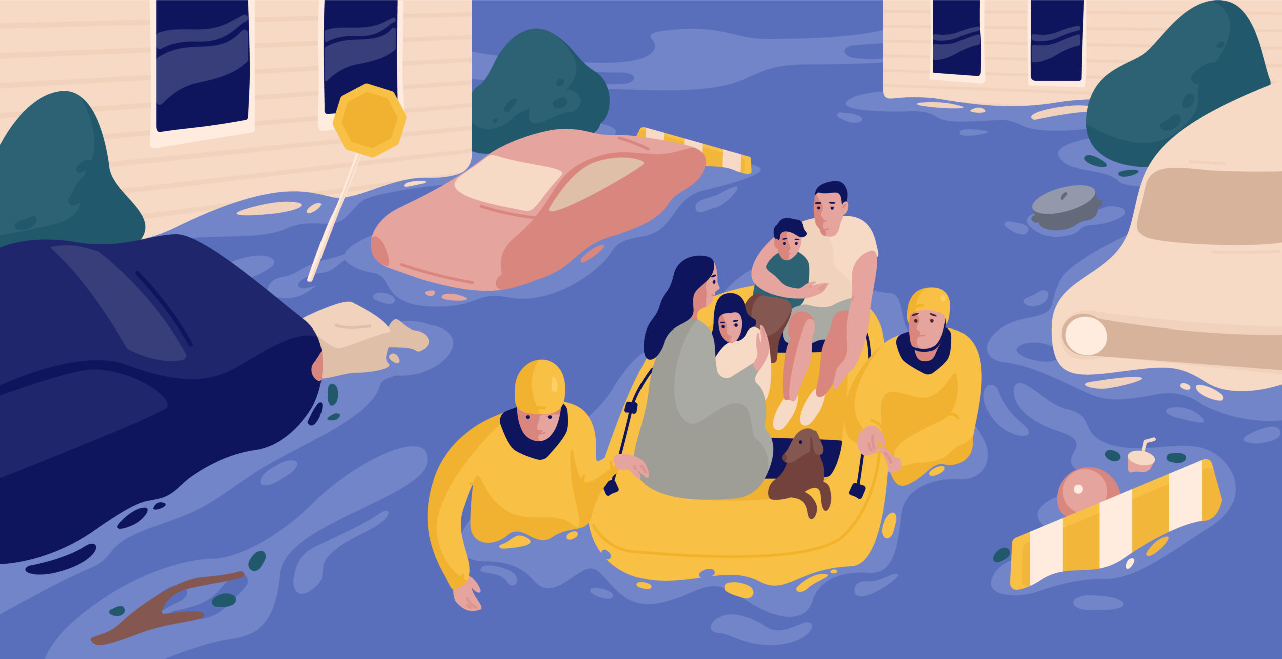 rescuers helping flood victims in inflatable boat