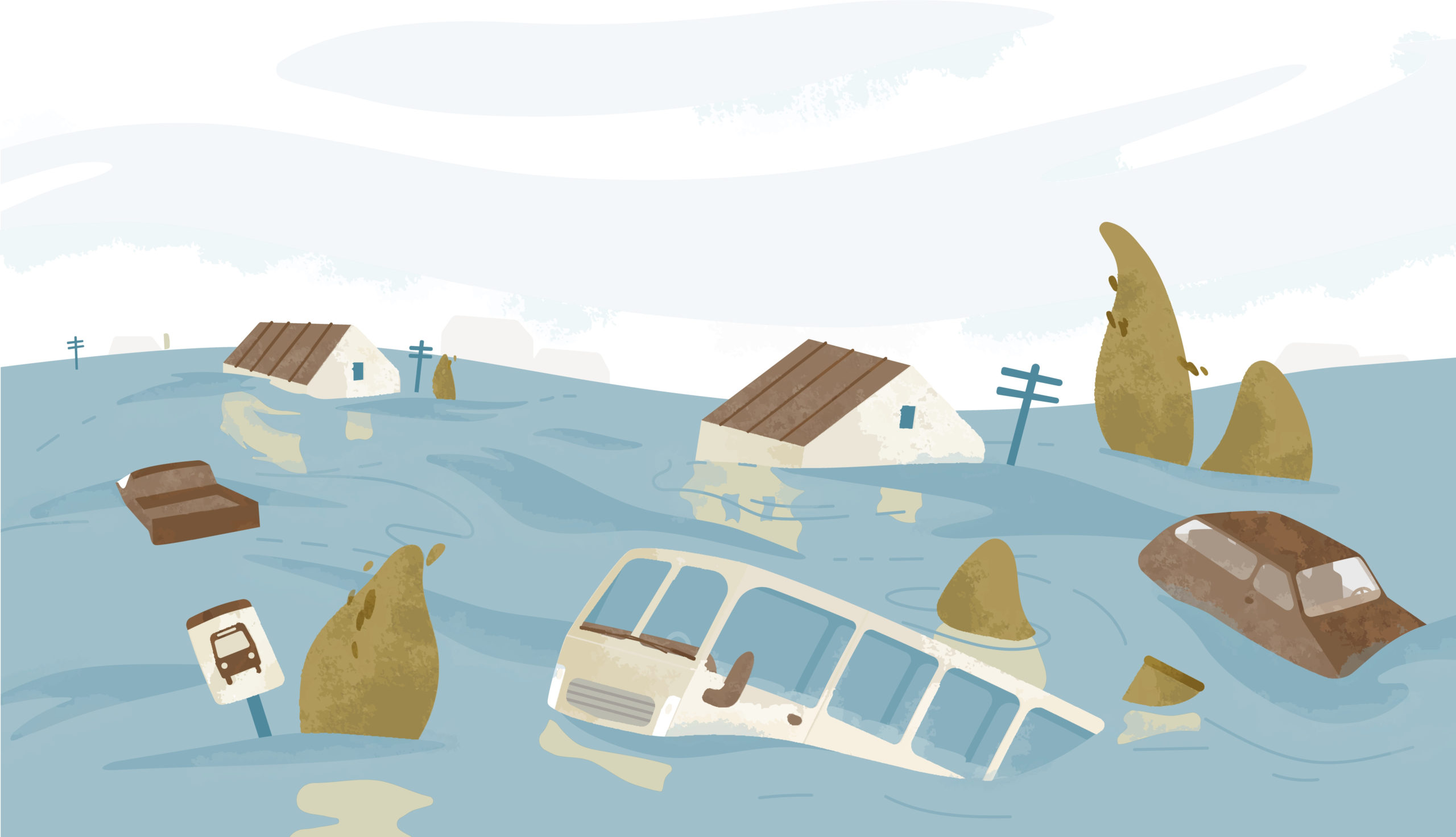 houses and bus underwater from flood