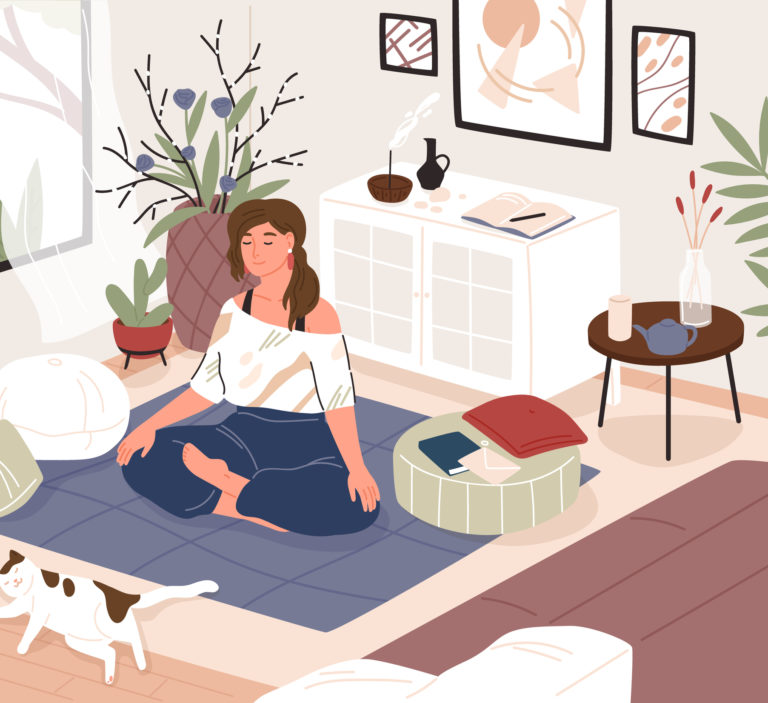 woman meditating in her apartment
