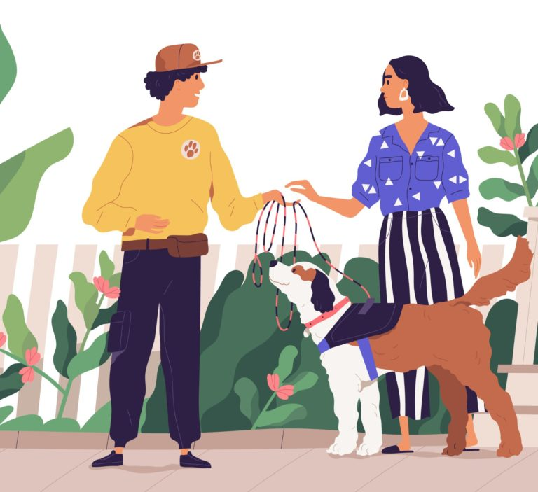 couple walking the dog outside