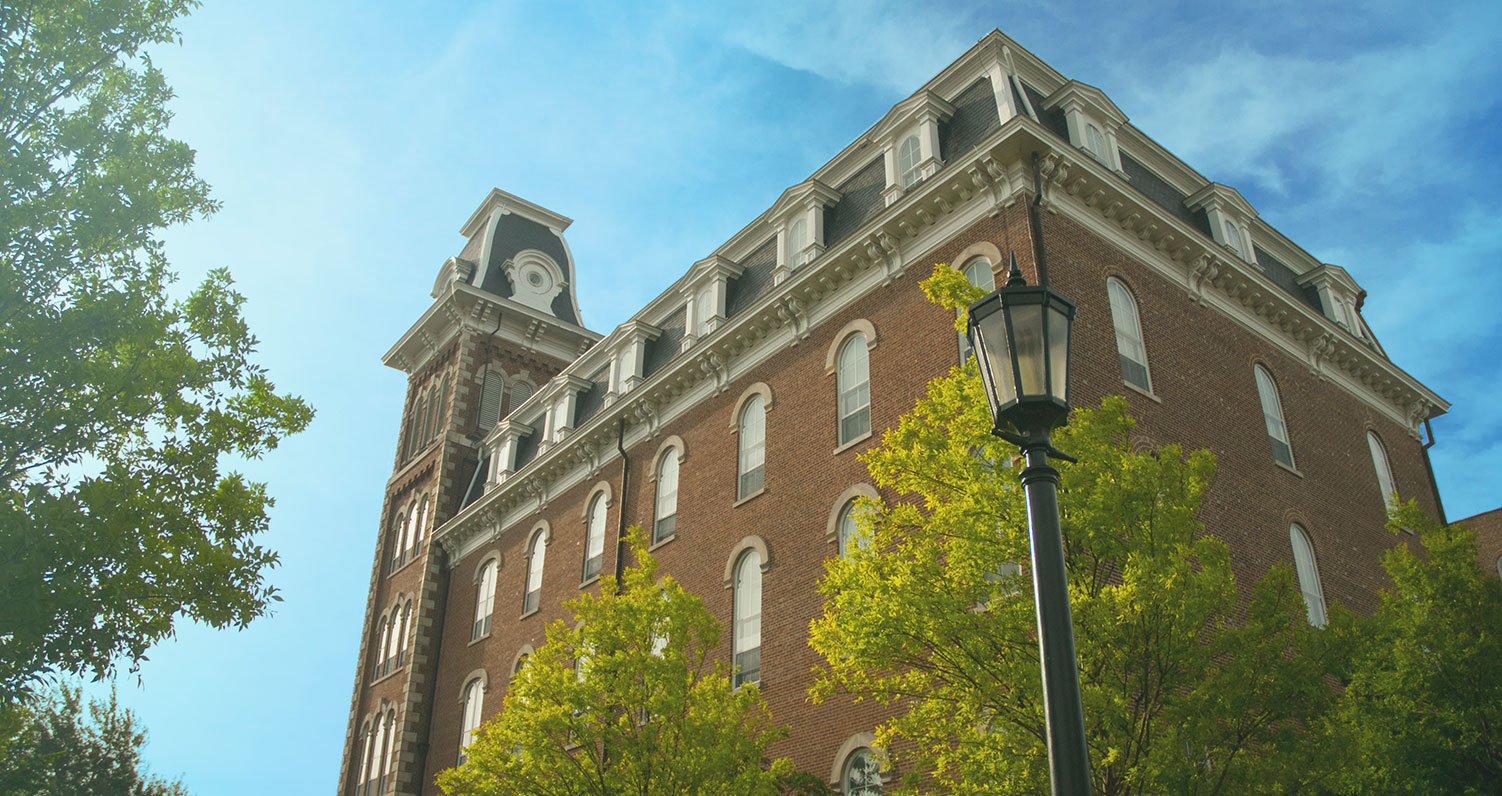 Photo of a building on the campus of the University of Arkansas in Fayetteville, Arkansas